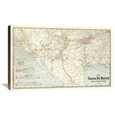 Global Gallery Sante Fe Route and connections, 1888 Framed Graphic Art on Canvas Size: Canvas Fabric, Canvas Art, Canvas Prints, Art Prints, World Cultures, Metal Wall Art, Canvas Size, Custom Framing, Wrapped Canvas