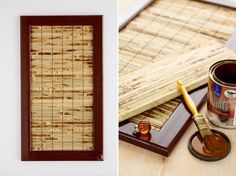 Diy Kitchen Cabinet Makeover Bamboo Mat . Remove Panel And Glue Mat To Back  Of Door