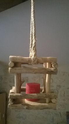 Photophore style lanterne en bois flotté ,à suspendre : Luminaires par oddeobois
