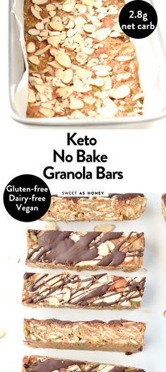 Keto Granola, No Bake Granola Bars, Healthy Granola Bars, Low Carb Keto, Low Carb Recipes, Keto Snacks, Healthy Snacks, Sugar Free Popsicles, Comida Keto