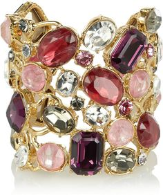 EMILIO PUCCI  Pink Crystal and Quartz Gold-Plated Cuff