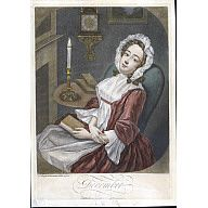 """December  1745  Engraver: Thomas Burford (ca. 1710-ca. 1770)  After work by: Thomas Burford (ca. 1710-ca. 1770)  Origin: England, London  OH: 14"""" x OW: 9 3/4""""; Plate H: 13"""" x W: 8 7/8""""  Black and white mezzotint engraving with period hand color.  Colonial Williamsburg."""