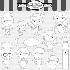 Neverland Friends Stamps - great for craft projects.  13 graphics included.