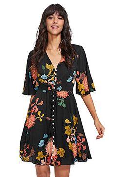 Milumia Womens Boho Button Up Split Floral Print Flowy Party Dress Large Black - Casual Dresses - Ideas of Casual Dresses - Casual Dresses, Short Dresses, Floral Dresses, Dress Outfits, Dresses Dresses, Trendy Dresses, Maternity Dresses, Girls Dresses, Bridesmaid Dresses