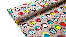 0,5m POPPY DESIGN Printed Cotton Hedgehog Fabric Happy Hedgehog GREY L93