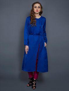 Cobalt Blue Satin Linen Tunic By Ritu Jain Singh