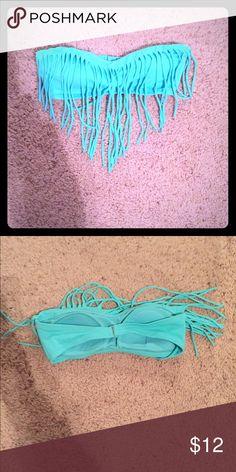 Fringe bikini top Turquoise, fringe bikini top. Will accept offers! PacSun Swim Bikinis