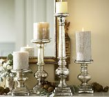 Shop antique mercury glass pillar holders from Pottery Barn. Our furniture, home decor and accessories collections feature antique mercury glass pillar holders in quality materials and classic styles. Mercury Glass Candle Holders, Gold Candle Holders, Gold Candles, Glass Candlesticks, Pillar Candles, Luxury Candles, Candleholders, Candlestick Holders, Unique Candles