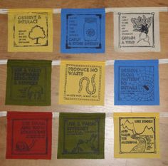 Permaculture principles prayer flags.