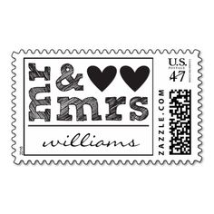 Mr. & Mrs. Hearts Postage #wedding #postage #stamps