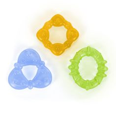 Filled with sterilized water, this Bright Starts Chill and Teethe Teether Tubes 3-Pack - Oval, Triangle, Diamond can be refrigerated to soothe your baby's gums.<br><br>Bright Starts puts fun first! Their smart, fresh solutions for parents and their babies deliver convenience, value, and FUN throughout each day. With a growing portfolio of innovative activity centers, play gyms, gear and toys, Bright Starts products guarantee a good time - for babies AND their parents. Bright S...
