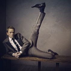 High kicks with Neil Patrick Harris (@instagranph) in our #oscars portrait studio.  Photo by @markseliger. #vfoscars