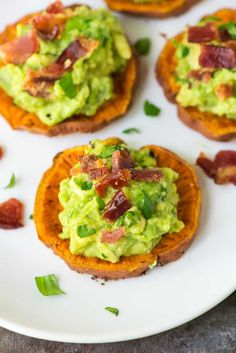 Sweet Potato Bites appetizer with bacon and avocado. Paleo, gluten free, and dairy free! Everyone loves this crowd-pleasing recipe. Recipe at wellplated.com