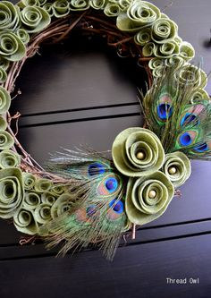 sage green felt flowers with pearls and peacock feathers - seasonal decorating - spring wreaths