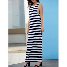 $12.18 Simple Style Striped Maxi Tank Dress For Women