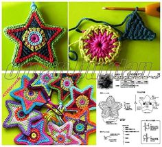 crochet star magic loop sc st) then repeat st) star tip: to st, to st, to st, to st. and sl st into st. repeat 4 times to have 5 tip star. Crochet Flower Patterns, Crochet Motif, Crochet Designs, Crochet Flowers, Diy Crochet And Knitting, Crochet Amigurumi, Cute Crochet, Crochet Stars, Crochet Snowflakes