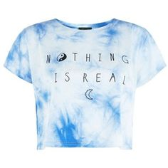 Blue and White Tie Dye Nothing Is Real Crop T-Shirt