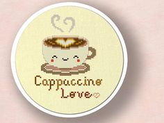 +This item is available for instant digital download*  A Cute Cappuccino Love Cross Stitch Pattern. Turn this lovely pattern into fantastic and