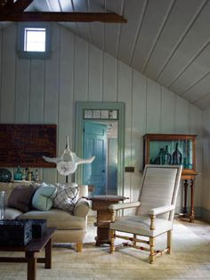 Steven Gambrel -- LOVE the idea of a door painted turquoise blue
