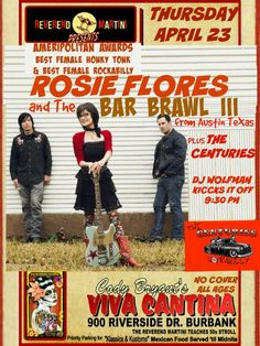 Rockabilly Icon Rosie Flores and The Bar Brawl lll Reverend Martini Presents with The Centuries and DJ Wolfman a Special Thursday @Ameripolitan two time winner!! @Codysvivacantina Burbank