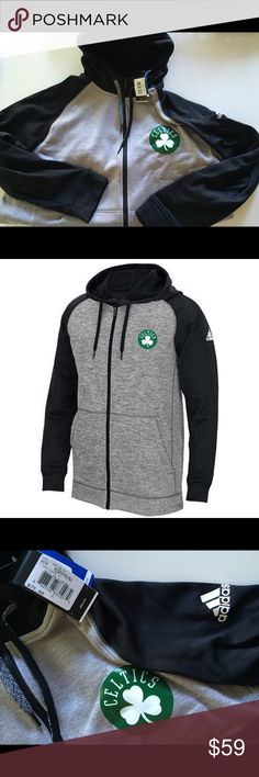 LAST ONE! Boston Celtics ADIDAS Full Zip Hoodie PRODUCT DETAILS Continue your dedication to the Boston Celtics by wearing this men's comfortable adidas full-zip hoodie.   PRODUCT FEATURES  Drawstring adjustable hood Full zip front 2 pockets Long sleeves  FABRIC & CARE  Polyester Machine wash Imported Adidas Shirts Sweatshirts & Hoodies