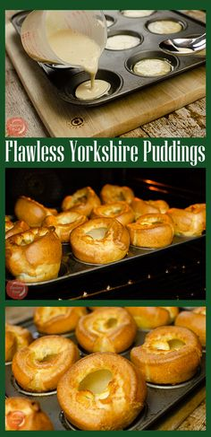 Flawless Yorkshire Puddings, Crispy and golden coloured on the outside and soft and spongy on the inside! recipes chicken recipes crockpot recipes easy recipes for dinner recipes healthy food recipes Yorkshire Pudding Breakfast, Yorkshire Pudding Recipes, Homemade Yorkshire Puddings, Yorkshire Pudding For One, Yorkshire Pudding Batter, Beef Recipes, Baking Recipes, Skillet Recipes, Recipies