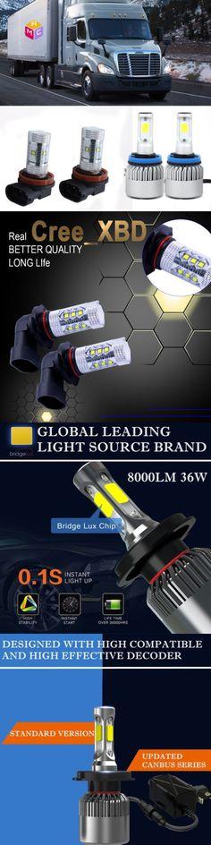 Car Lighting: 4Pcs 2008-2017 Freightliner Cascadia Led Headlight Bulbs Kit 6500K Low Beam+Fog -> BUY IT NOW ONLY: $66.66 on eBay!