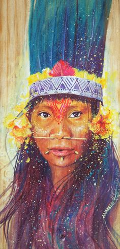 The mystical, fantastical, spiritual art of Annelie Solis. About the artist. Shop prints and originals. Native American Paintings, Native American Art, Illustrations, Illustration Art, Amazing Drawings, Indigenous Art, Small Paintings, Visionary Art, Black Art