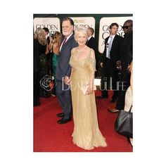 Celebrity Dress - Helen Mirren Style Brown Organza Floor-length Fake Wrap Low Cut Beading Dress In 2011 Golden Globe Award (335 AUD) found on Polyvore