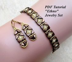Beaded Bracelet and Earrings Tutorial, Tango Beads Pattern, Beadweaving Pattern, Beading Design, Bead Tutorial, Ethno Jewelry Set This PDF beading tutorial includes beading instructions for an elegant, beaded jewelry set. Materials: - Tango beads; - size 11/0 Toho seed beads; -