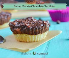 Sweet Potato Chocolate Tartlets  #SweetPotato gives this tartlet shape, texture and a touch of sweetness.  Calories - 170  Carbohydrate - 14g  Total Fat - 12g  Protein - 3g  Sodium - 20mg  Dietary Fiber - 3g  #recipe #dessert