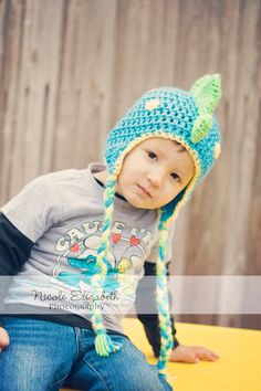 Dinosaur Baby Hat baby to child sizes any color by mandag433, $24.50
