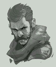 Subtle color for black and white sketch