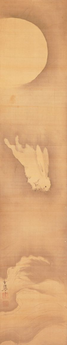 Rabbit / Swallows and rabbit pair of scrolls by Yamaguchi, Sekkei, 1644-1732