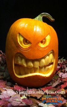 Smile inducing pumpkin carving. See more party and Halloween pumpkin carving ideas at one-stop-party-ideas.com