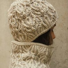 Fashion art knit / hand-knitted 2-color brioche / sophisticated luxury winter beanie hat and neck-warmer COCO/original pattern/Free shipping
