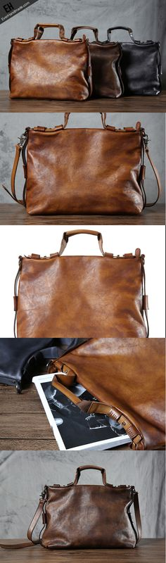 Handmade leather men Briefcase bag messenger large vintage