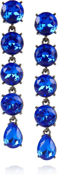 Oscar De La Renta Gunmetaltone Drop Clip Earrings in Silver (gunmetal) -- very gorgeous!