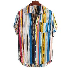 New Arrivals Fashion Summer Mens Casual Multi Color Lump Chest Pocket Short Sleeve Round Hem Loose Shirts Style Casual, Men Casual, Men's Style, Casual Wear, Under Your Spell, Outfits Hombre, Loose Shorts, Shorts With Pockets, Summer Shirts