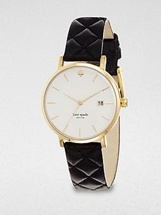 Kate Spade New York Metro Goldtone Quilted Leather Strap Watch