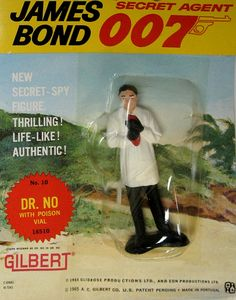 "Original 1965 James Bond ""Dr. No"" Action Figure, by Gilbert. From the great James Bond 007 craze of the '60's comes this AUTHENTIC 1965 figure of ""Dr. No"", 007's FIRST movie baddie, from 1962!! MINT ON SEALED CARD!! These Gilbert action figures and some of the toys and playsets they came out with in the same time period were among the FIRST OFFICIALLY-LICENSED JAMES BOND TOYS! Only one in stock. $75.00"