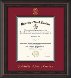 University of South Carolina - USC Diploma Frames : W/Seal - Garnet on Black Mat. Go Cocks! Click image to see more styles!