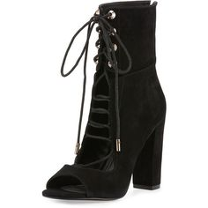 Kendall + Kylie Ella Lace-Up Block-Heel Bootie (675 BRL) ❤ liked on Polyvore featuring shoes, boots, ankle booties, heels, ankle boots, black, open toe booties, lace-up ankle boots, lace up heel booties and black suede ankle booties