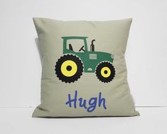 A green tractor on a lovely sage green background. This cushion cover is great for those who loves tractors. You can request your choice of name on the cushion. Green Backgrounds, Tractors, Playroom, Sage, Cushions, Throw Pillows, Bedroom, Trending Outfits, Cover