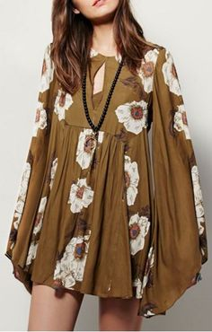 So Gorgeous! Floral Keyhole Neckline Long Sleeves Mini Dress #Fun #Flirty #Floral #Keyhole #Mini #Dress #Fashion