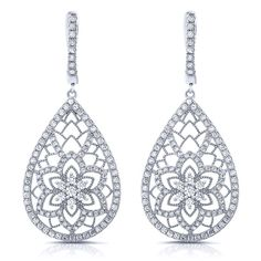 Sterling silver floral shape drop earrings and simulated diamonds by swarovski.  ZE-0261