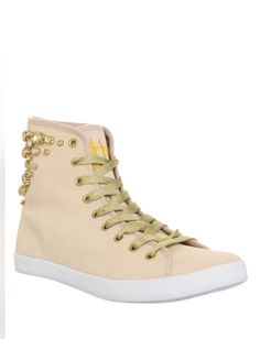 Natural+suede+hi-top+sneakers+with+rhinestone+detailing+and+gold+laces.
