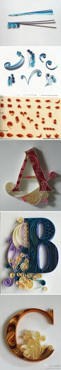 Papier artisanal Quilling Ini This handmade paper quilling # It is Cute Crafts, Crafts To Do, Arts And Crafts, Diy Crafts, Arte Quilling, Paper Quilling, Quilling Letters, Quilling Craft, Quilling Designs