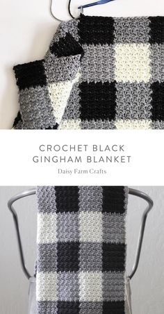 Crochet Afghans Patterns Free Pattern - Crochet Black Gingham Blanket - Who knew that making crochet look like a gingham pattern could be so simple? This crochet griddle stitch gingham blanket is simple once you learn to carry Granny Square Crochet Pattern, Tunisian Crochet, Free Crochet, Free Knitting, Granny Squares Crochet Blanket, Ripple Afghan, Start Knitting, Afghan Blanket, Crochet Bags