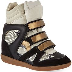 Isabel Marant Bonny suede and leather wedge trainers on shopstyle.co.uk